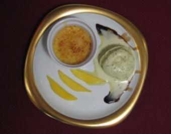 Mango-Creme-Brulee mit Balsamico-Pistazieneis - Rezept