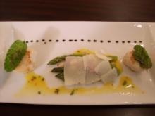 Grüner Spargel mit Schinken Jakobsmuscheln an Zitronen- Thymiansoße - Rezept