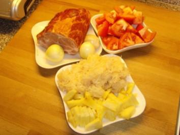 Rezept: Kasslerkamm mit Ananas / Sauerkraut....