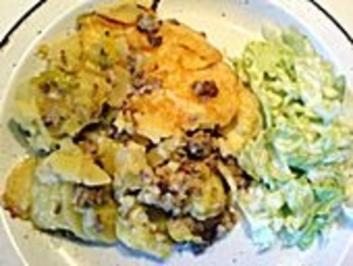 Rustikaler Kartoffel-Lauchauflauf mit Schinken - Rezept