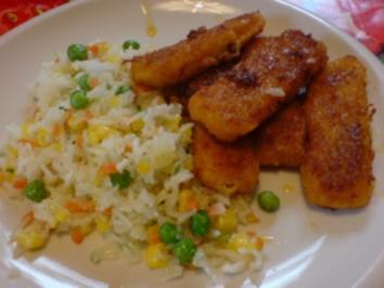 Rezept: Fischstäbchen mit Gemüsereis