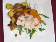 Hähnchenbrust mit Kürbis und Chili an Rosmarin-Rosinen-Kartoffeln - Rezept