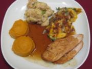 Truthahn - Cranberry Turkey with green bean casserole and sweet potato mash - Rezept