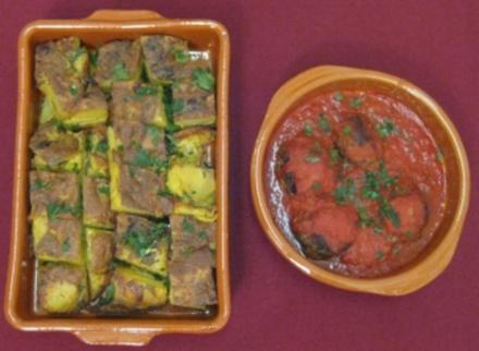 Albondigas en salsa de tomate al Jerez y tortilla espanola - Rezept