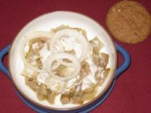 Sardellen-Hachee auf einem Bett von Chicoree mit kleinen Dinkelbroten - Rezept