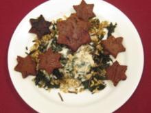 Bohnen-Kichererbsen-Sterne auf Brennesselgemüse in Gorgonzolasoße - Rezept