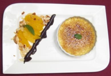 Creme Brulee mit flambierten Orangenfilets und gerösteten Mandeln - Rezept