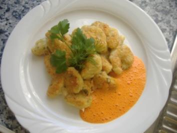 Rezept: Kräuter-Ricotta-Gnocchi goldbraun überbacken mit Paprikacreme