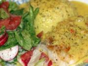Zander in Lavendel-Kruste auf Fenchel und Sellerie an Zitronenhollandaise - Rezept