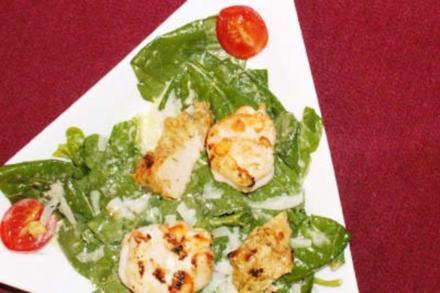 Caesar Salad mit Putenstreifen und Riesengarnelen - Rezept