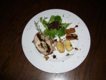 Italienisches Kotelett dazu Drillinge und Feldsalat mit Speck-Zwiebel-Dressing - Rezept