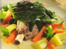Lammhaxe auf Gemüse - Rezept