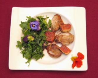 Österreichischer Wildkräuter-Salat mit Taubenbrust und Cassisfeigen - Rezept