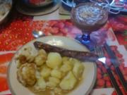 Bratwurst mit Salzkartoffeln und Blumenkohl - Rezept