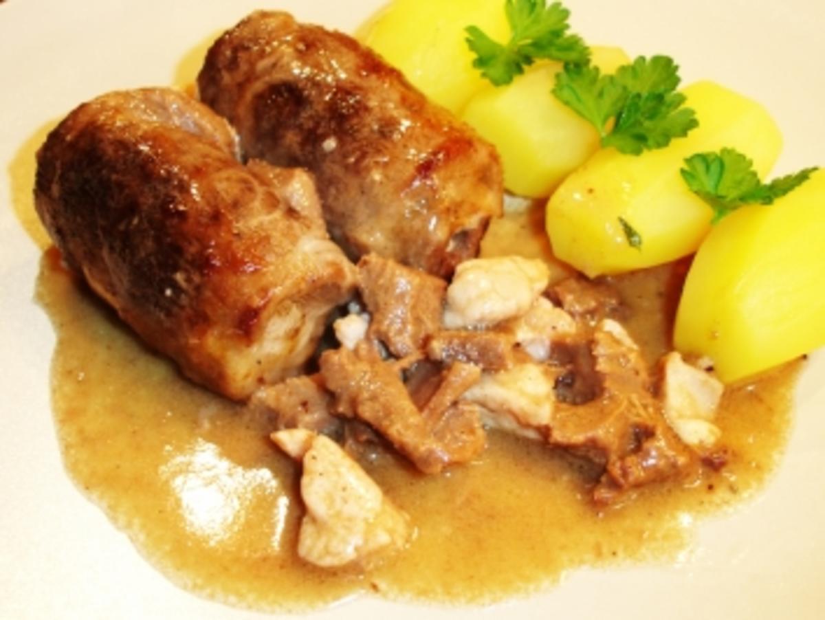 Röllchen von der Rinderzunge mit Kalbsbries gefüllt in Madeirasauce - Rezept Durch Kochschnegge