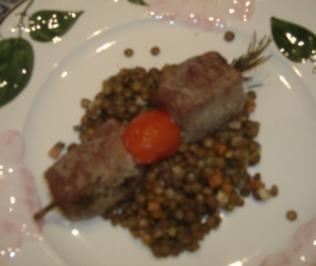 Tapa Lammspiesschen auf Linsensalat - Rezept