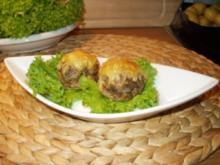 Frikadellen im Champignonmantel oder einfach überbackene Champignons - Rezept