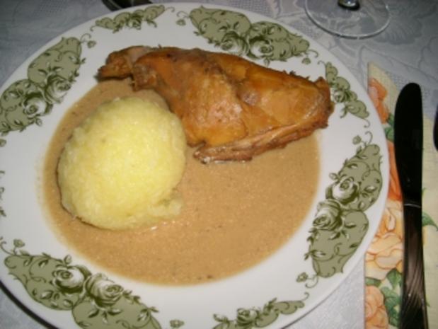 Kaninchenbraten in Sahnesoße>> - Rezept