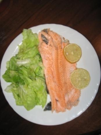 Lachsforelle auf grünem Salat - Rezept