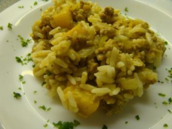 Pfirsich Hack auf Reis - Rezept