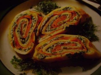 Fisch: Lachs Crepe Kräuterrolle - Rezept