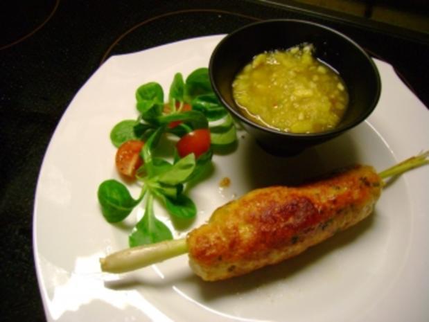 Geflügel: Chili Hähnchenspieße mit Ananas Dip - Rezept