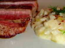 Risotto mit Fenchel und American Beef Semerrollen-Steaks - Rezept