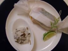 Filet von der Lachsforelle dazu Gemüsestreifen und Reistimbale - Rezept