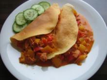 Eierkuchen mit Paprika-Schinken Füllung - Rezept