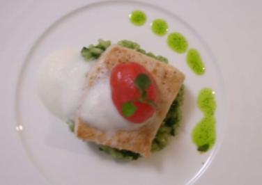 Schwertfisch an Mandelsoße auf Spinatrisotto - Rezept