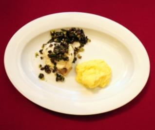 Gebratener Seeteufel mit Olivensoße und Kartoffelpüree (Pierre Geißensetter) - Rezept