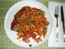 Steak mit Paprika-Champignons-Gemüse - Rezept