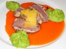 Lammrücken mit Petersilienwurzelpüree und Kürbiscarpaccio - Rezept