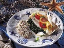 Seelachsfilet in Alufolie mit Kräuterreis - Rezept