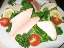 Feldsalat mit geräucherter Forelle und Buttermakrele - Rezept