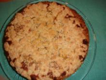 Kuchen: Birnenkuchen mit Marzipanguss und Streusel - Rezept
