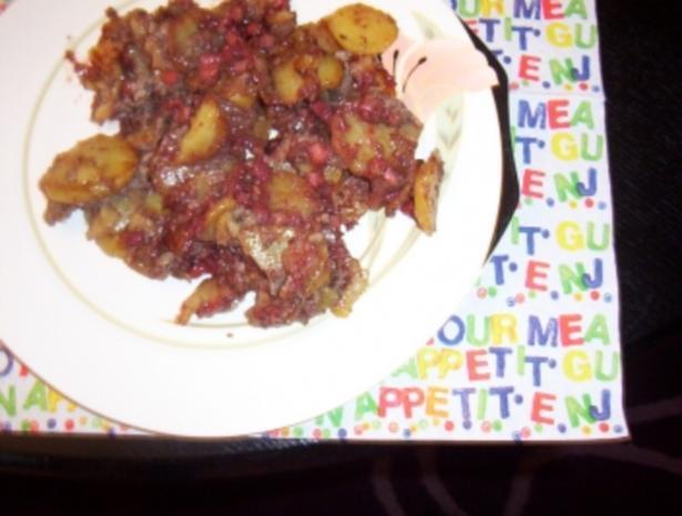 Bratkartoffeln mit Blut- und Leberwurst - Rezept - Bild Nr. 3