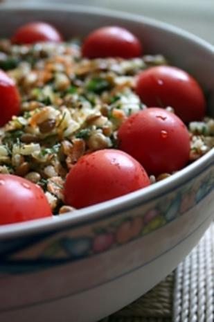 türkischer Reissalat mit grünen Linsen - Rezept