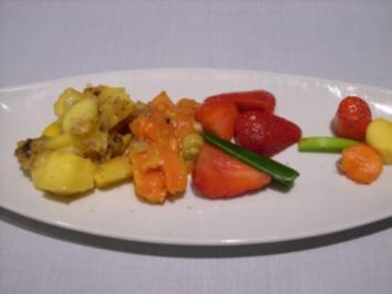 Gemischte Früchte mit Chili und buntem Pfeffer - Rezept