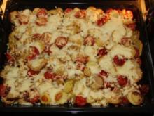 Kartoffel-Tomaten-Pizza mit Bacon - Rezept