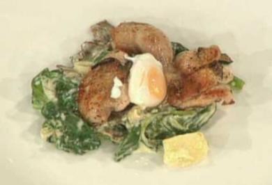 Brust, Keule und Ei von der Wachtel mit Trüffel und Blattspinat - Rezept