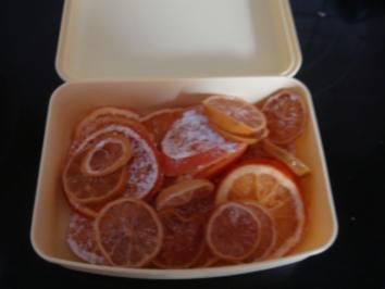 Verschiedenes: Orangen- bzw. Zitronenscheiben kandiert - Rezept