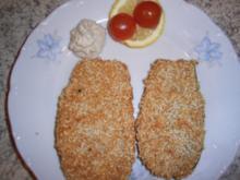 Auberginenschnitzel mit Sesam-Käse-Panade - Rezept