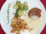 Amarantplätzchen mit Kräuter-Pastis-Soße, Romanesco und Kartoffelwürfeln - Rezept