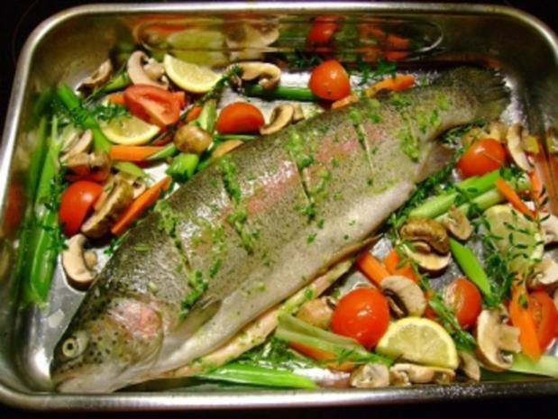 Fisch: Lachsforelle im Gemüsebett - Rezept - Bild Nr. 2