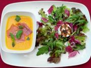 Blattsalate mit Ziegenkäse und Lavendel, Kürbis-Melonensuppe - Rezept