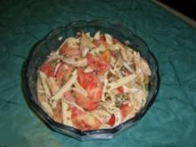 Tomaten-Nudelsalat mit flambierten Szechuanpfeffer-Hühnerbrustfilet - Rezept