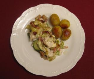 Rezept: Steinbeißerfilet im Champignon-Gemüsebett