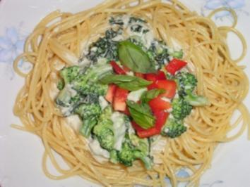 Rezept: Brokkoli-Spaghetti mit Gorgonzola Basilikum Sauce