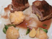 Cordon Bleu vom Wildschweinrücken mit Mandelbällchen an Madeira-Süßholzjus a la Schönberger - Rezept